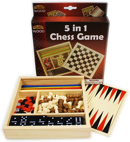 5-in-1 Wooden Travel Game Set