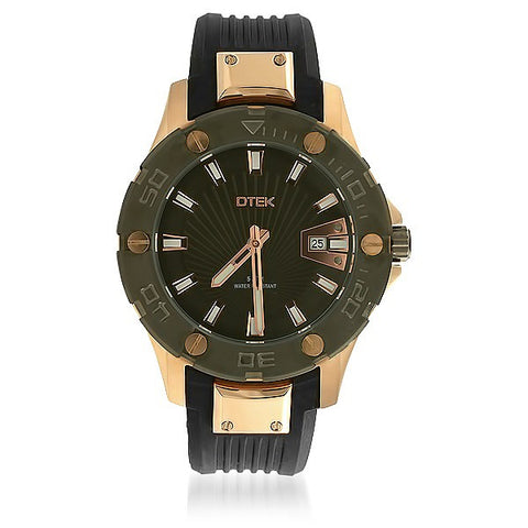 DTEK 009 Rose Gold Mens Watch Rubber