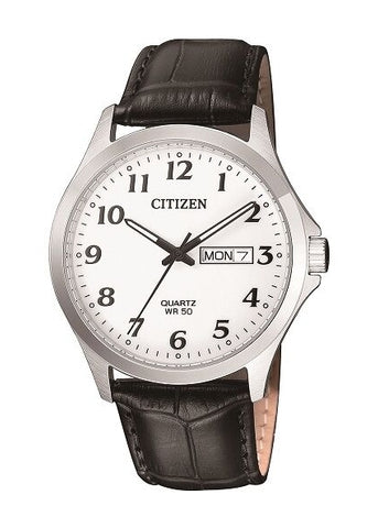 CITIZEN QUARTZ GENTS BLACK LEATHER STRAP BF5000-01A