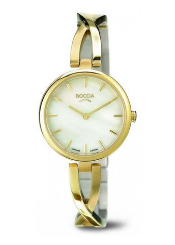 BOCCIA LADIES TITANIUM ROUND CROSS OVER BRACELET - GOLD 3239-03