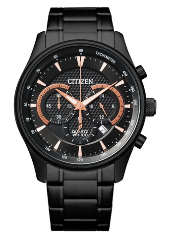 CITIZEN QUARTZ GENTS CHRONOGRAPH BLACK DIAL & BRACELET AN8195-58E