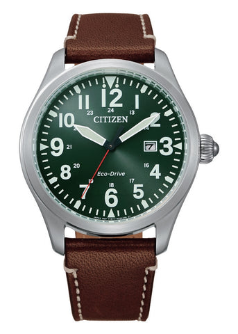 CITIZEN GENTS ECO-DRIVE 12 FIGURE GREEN DIAL BROWN LEATHER BM6838-25X