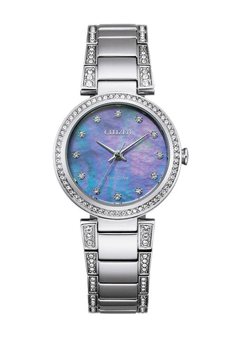 CITIZEN LADIES ECO-DRIVE BLUE DIAL CRYSTAL SET STAINLESS STEEL EM0840-59N