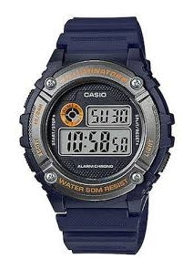 CASIO GENTS DIGITAL WATCH BLUE & ORANGE W216H-2B
