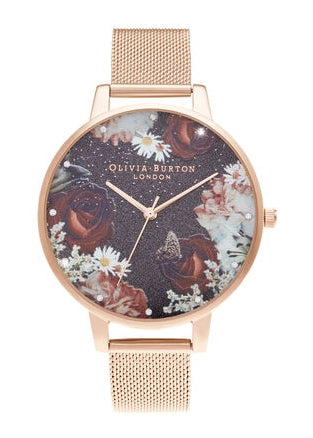 OLIVIA BURTON WINTER BLOOMS ROSE GOLD MESH STRAP OB16WG80