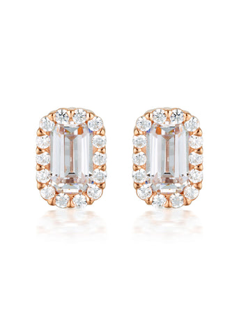 GEORGINI PARIS WHITE CZ ROSE GOLD 20MILS EARRINGS IE848RG