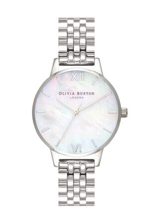OLIVIA BURTON MOTHER OF PEARL DIAL STAINLESS STEEL BRACELET OB16MOP02