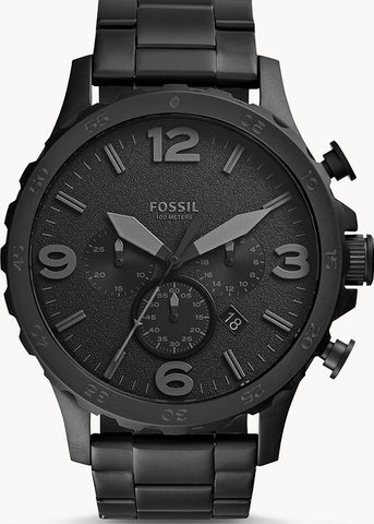 FOSSIL GENTS LARGE BLACK CHRONOGRAPH JR1401