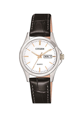 CITIZEN QUARTZ LADIES BLACK LEATHER STRAP EQ0599-11A
