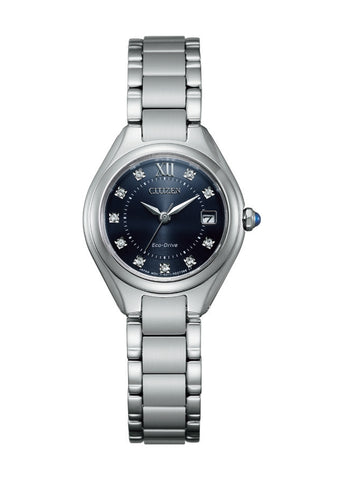 CITIZEN LADIES ECO-DRIVE BLUE DIAL CRYSTAL SET EW2540-83L