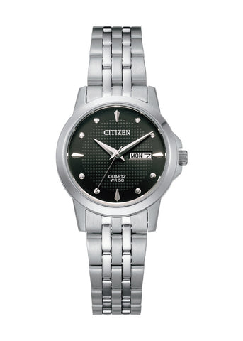 CITIZEN QUARTZ LADIES BLACK DIAL STAINLESS STEEL BRACELET EQ0601-54F