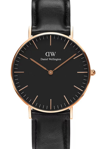 DANIEL WELLINGTON SHEFFIELD ROSE GOLD BLACK DIAL 40MM  DW00100127
