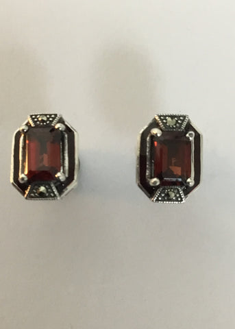MARCASITE STERLING SILVER ANTIQUE GARNET EARRINGS 43-300R