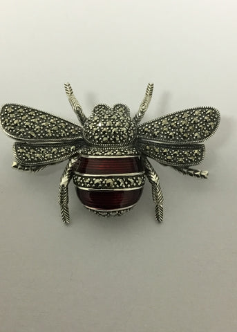 MARCASITE STERLING SILVER BETTLE RED ENAMEL & MARCASITE 55-150