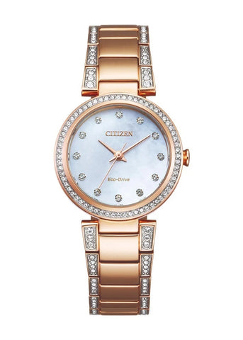 CITIZEN LADIES ECO-DRIVE CRYSTAL SET ROSE GOLD BRACELET EM0843-51D