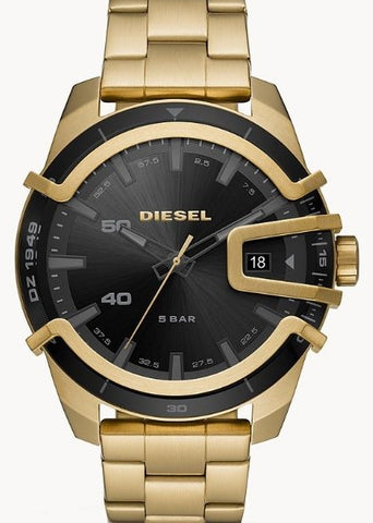 DIESEL GENTS YELLOW GOLD BRACELET BLACK DIAL DZ1949