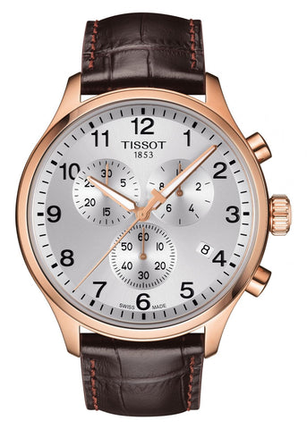 TISSOT SWISS GENTS XL ROSE GOLD CHRONOGRAPH BROWN LEATHER T116-617-36-037-00