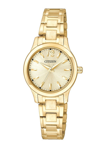 CITIZEN QUARTZ LADIES GOLD DIAL & BRACELET EL3032-53P