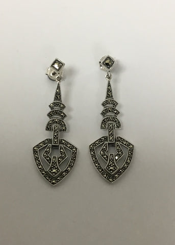 MARCASITE STERLING SILVER ANTIQUE CHANDLER DROP EARRINGS 43-292