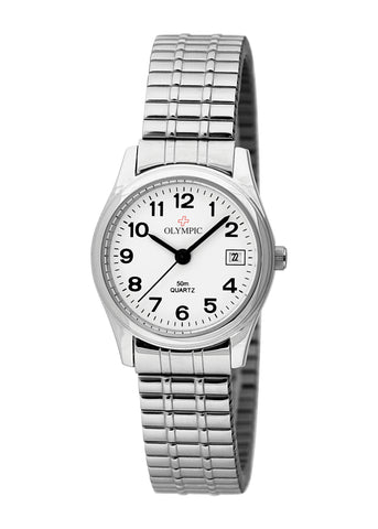 OLYMPIC SWISS LADIES ROUND 12 FIGURE DIAL EXPANDING STRAP 78034