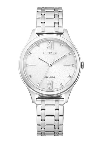 CITIZEN LADIES ECO-DRIVE WHITE DIAL STAINLESS STEEL BRACELET EM0500-73A