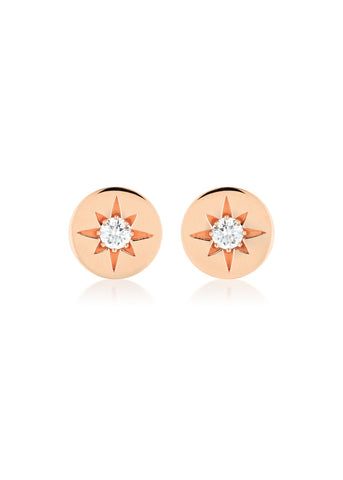 GEORGINI STELLAR LIGHTS WHITE CZ ROSE GOLD 20MILS EARRINGS IE852RG