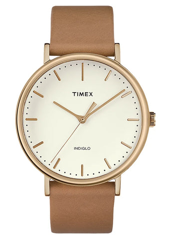 TIMEX FAIRFIELD GENTS ROSE GOLD TAN LEATHER STRAP TW2R26200