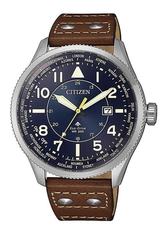 CITIZEN GENTS ECO-DRIVE PROMASTER BLUE DIAL,BROWN ,SKY BX1010-11L