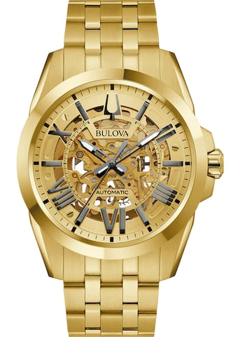 BULOVA GENTS SUTTON SKELETON AUTOMATIC GOLD 97A162