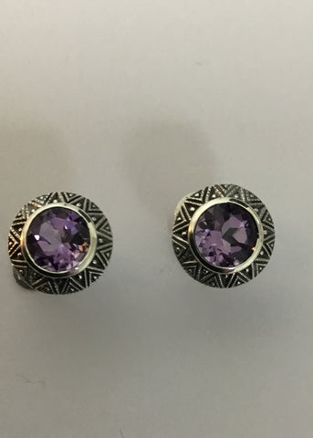 MARCASITE STERLING SILVER ANTIQUE AMETHYST STUD EARRINGS 43-1592AM