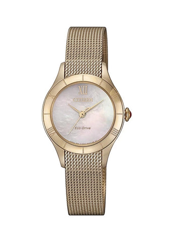 CITIZEN LADIES ECO-DRIVE ROSE GOLD MESH BRACELET EM0783-85D