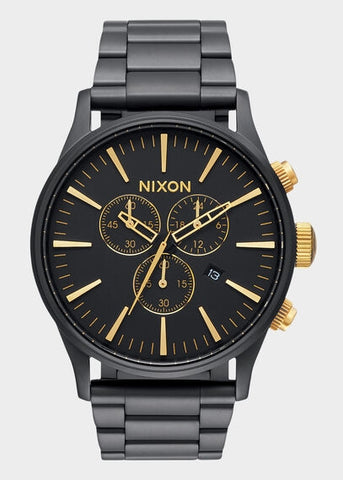 NIXON SENTRY CHRONOGRAPH MATT BLACK & GOLD A386-1041-00