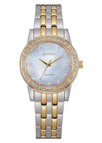 CITIZEN LADIES ECO-DRIVE CRYSTAL SET BITONE BRACELET EM0774-51D