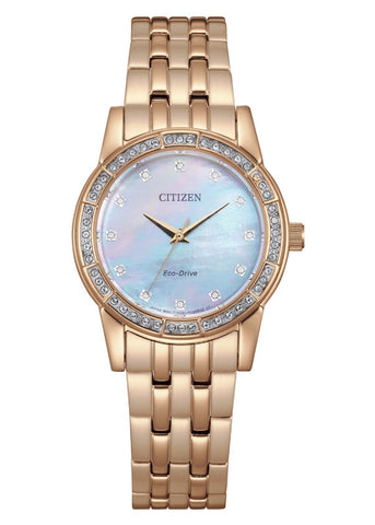 CITIZEN LADIES ECO-DRIVE CRYSTAL SET ROSE GOLD EM0773-54D