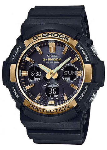 CASIO G SHOCK ANALOGUE SOLAR BLACK & GOLD GAS100G-1A