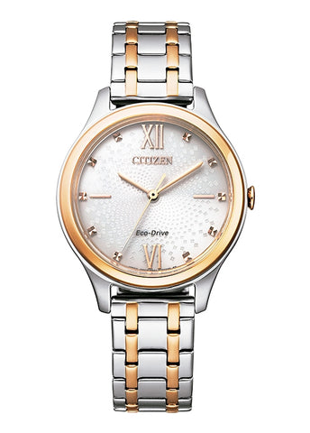 CITIZEN LADIES ECO-DRIVE WHITE DIAL BI-TONE BRACELET EM0506-77A