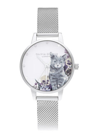OLIVIA BURTON ILLUSTRATED ANIMALS GREY CAT SILVER MESH STRAP OB16WL91
