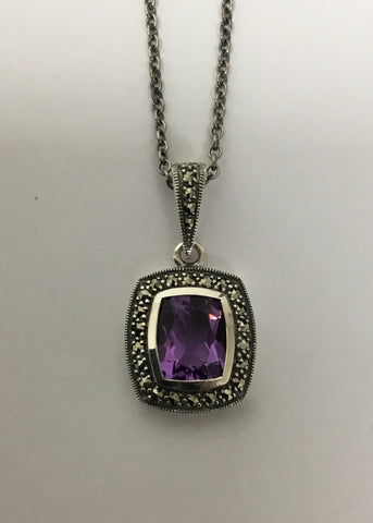 MARCASITE STERLING SILVER AMETHYST PENDANT 52-167AM