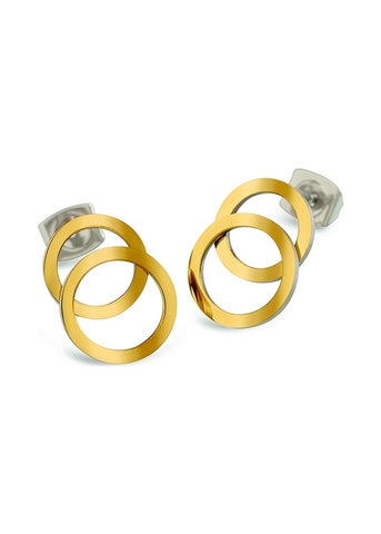 BOCCIA TITANIUM JEWELLERY EAR RINGS POLISHED GOLD PLATED 05026-02