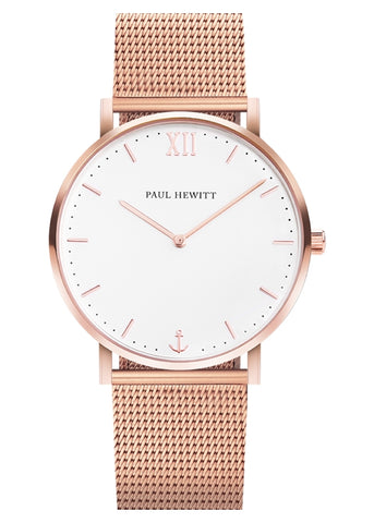 PAUL HEWITT WHITE SAND ROSE GOLD MESH PH-SA-R-ST-W-4S
