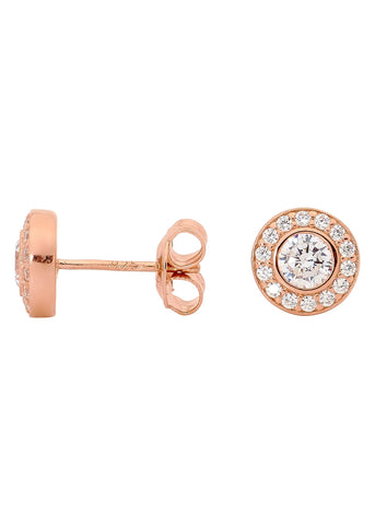 GEORGINI WHITE CZ ROUND EARRINGS ROSE GOLD IE374RG
