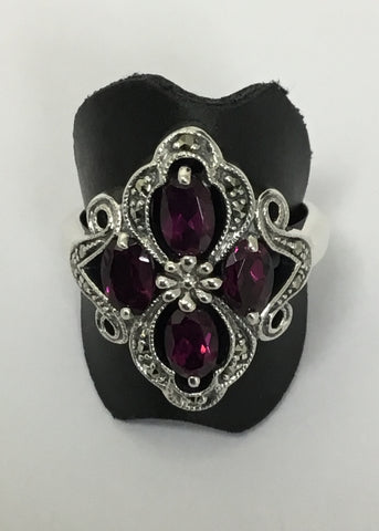 MARCASITE STERLING SILVER ART DECO 4xOVAL RHODOLITE RING 18-1056