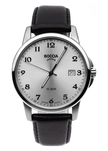 BOCCIA GENTS TITANIUM BLACK LEATHER STRAP 3633-03