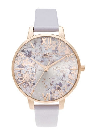 OLIVIA BURTON ABSTRACT FLORAL PARMA VIOLET ROSE GOLD OB16VM45