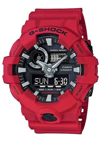 CASIO G-SHOCK ANALOGUE / DIGITAL RED GA700-4A