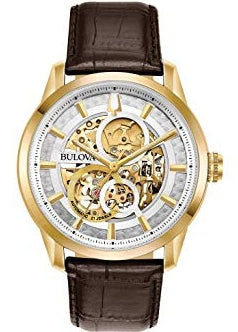 BULOVA GENTS SUTTON CLASSIC AUTOMATIC BROWN LEATHER STRAP 97A138