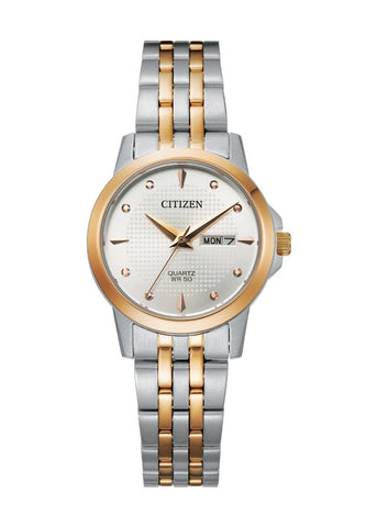 CITIZEN QUARTZ LADIES SILVER DIAL ROSE GOLD & STAINLESS STEE EQ0605-53A
