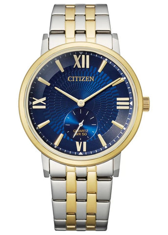 CITIZEN QUARTZ GENTS BLUE DIAL BI-TONE BRACELET BE9176-76L