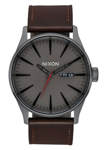 NIXON SENTRY GUNMETAL DIAL BROWN LEATHER STRAP A105 2737-00