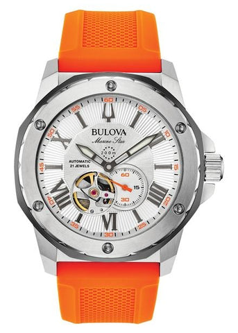 BULOVA MARINE STAR AUTOMATIC ORANGE & GREY SILICONE STRAP 98A226
